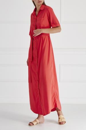 Однотонное платье-халат No Name. Цвет: красный