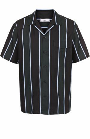 Рубашка из смеси вискозы и хлопка с короткими рукавами Ami. Цвет: разноцветный