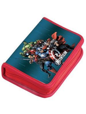 Пенал 1 отделение средний Marvel Мстители с наполнением. Цвет: синий