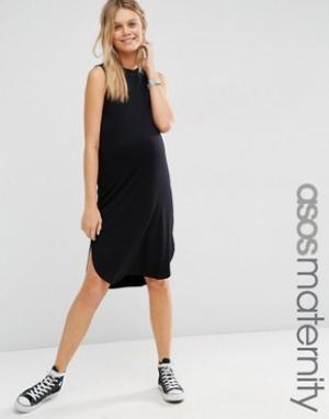 ASOS Maternity Платье-футболка без рукавов для беременных с закругленным низом M. Цвет: черный