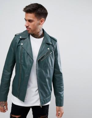 ASOS Зеленая кожаная асимметричная байкерская куртка. Цвет: зеленый