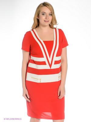 Платье Gemko plus size. Цвет: красный, молочный