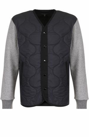 Стеганая куртка на кнопках с контрастными рукавами Rag&Bone. Цвет: темно-серый