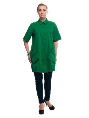 Рубашка OLSI. Цвет: темно-зеленый