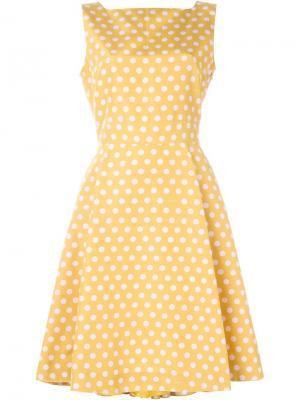 Расклешенное платье в горошек Rochas. Цвет: жёлтый и оранжевый