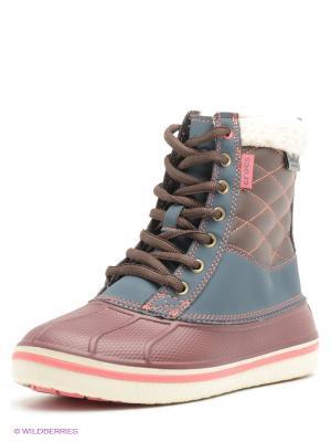 Ботинки CROCS. Цвет: бордовый, морская волна