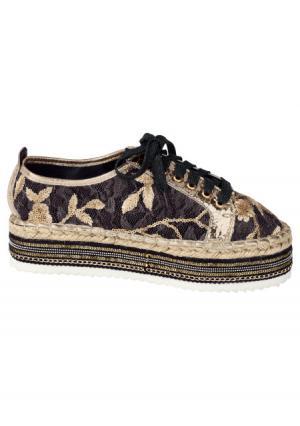 Туфли на шнурках. Цвет: черный/золотистый