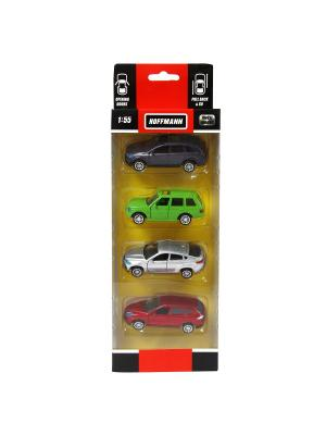 Машина металлическая, набор 4 шт HOFFMANN. Цвет: зеленый, красный, серебристый, фиолетовый