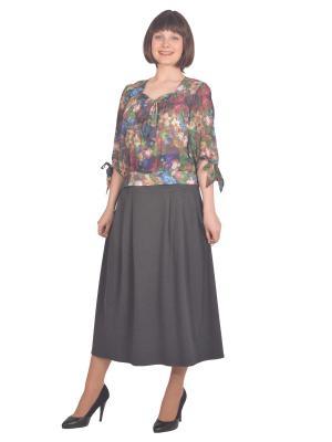 Блузка Томилочка Мода ТМ. Цвет: зеленый, темно-серый
