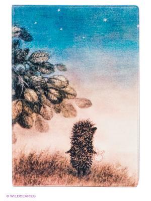 Обложка для паспорта Ежик ночью Mitya Veselkov. Цвет: коричневый, голубой