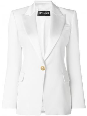 Пиджак с застежкой на пуговицу Balmain. Цвет: белый