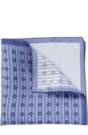 Шелковый платок с принтом Ermenegildo Zegna. Цвет: синий