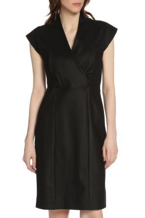 Строгое офисное платье с V-образным вырезом Liu Jo. Цвет: черный