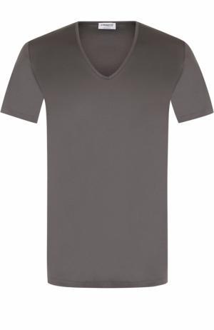 Хлопковая футболка с V-образным вырезом Zimmerli. Цвет: серый