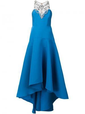 Декорированное вечернее платье Marchesa Notte. Цвет: синий