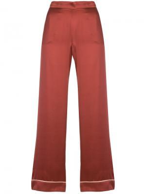 Длинные пижамные брюки Asceno. Цвет: красный