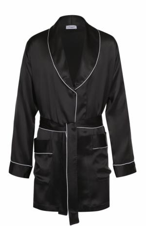 Шелковый халат с поясом Zimmerli. Цвет: темно-серый