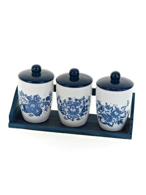 Набор банок для сыпучих продуктов Орнамент, Polystar. Цвет: синий