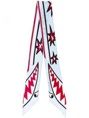 Шелковый шарф с графическим принтом Rockins. Цвет: синий