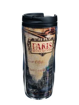 Чайная кружка для путешествий пластиковая 13,5x18 см ,  Памятники Парижа Orval. Цвет: черный, бежевый, красный