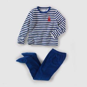 Пижама из велюра со вшитыми носочками, 2-12 лет La Redoute Collections. Цвет: в полоску синий/синий