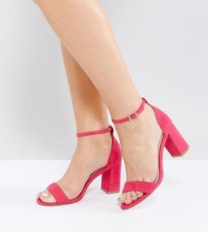 Faith Wide Fit Розовые босоножки на каблуке для широкой стопы. Цвет: розовый