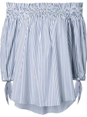 Полосатая блузка с открытыми плечами Caroline Constas. Цвет: синий