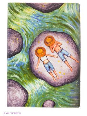 Обложка для паспорта Мечтатели в панамах на речке Mitya Veselkov. Цвет: зеленый, сливовый