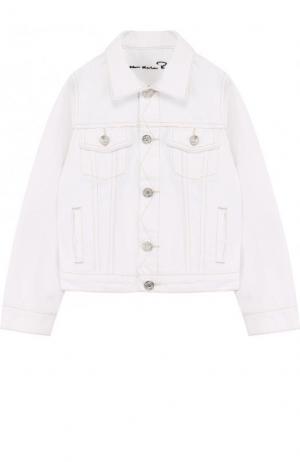 Джинсовая куртка с аппликацией Oscar de la Renta. Цвет: белый