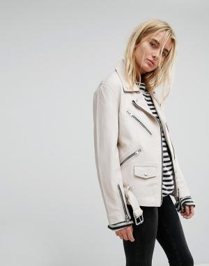 AllSaints Кожаная байкерская оверсайз-куртка с молниями. Цвет: белый