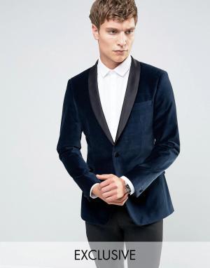 Number Eight Savile Row Бархатный пиджак скинни для смокинга с атласными лацканами Eigh. Цвет: темно-синий