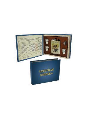 Подарочный набор Гуманитарий: шкатулка, фляжка, воронка, стаканчики Русские подарки. Цвет: бежевый, синий