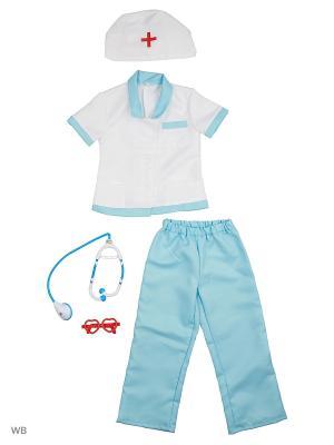 Карнавальный костюм Медсестра-2 Батик. Цвет: голубой, белый