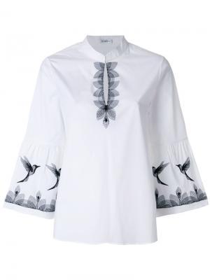 Блузка с отделкой в виде птиц Vilshenko. Цвет: белый