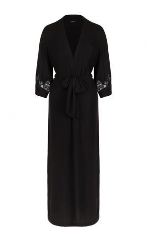 Халат-макси с укороченным рукавом и кружевными вставками Ritratti Milano. Цвет: черный