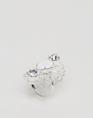 Krystal London Кольцо с кристаллами Swarovski от Regal. Цвет: серебряный