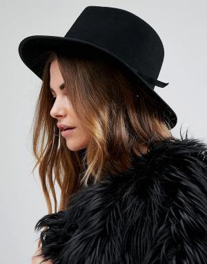 Brixton Черная фетровая шляпа с поплиновой лентой Manhattan. Цвет: черный