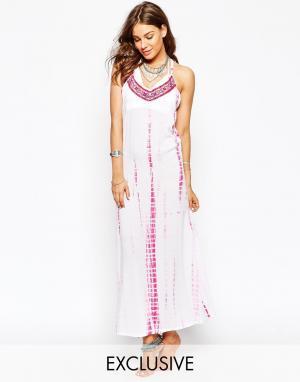 Spiritual Hippie Пляжное платье макси с принтом тай‑дай. Цвет: фиолетовый