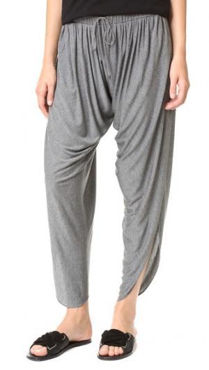 Драпированные гаремные брюки из джерси Haute Hippie. Цвет: голубой