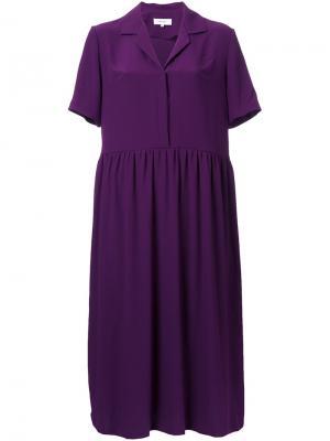 Платье-рубашка с V-образным вырезом Carven. Цвет: розовый и фиолетовый