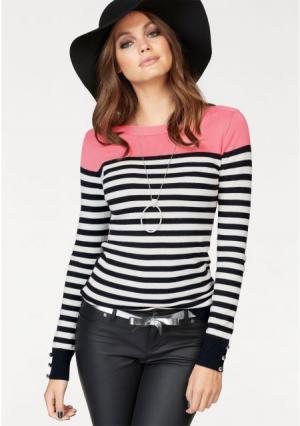 Пуловер MELROSE. Цвет: розовый в полоску, серый-в полоску