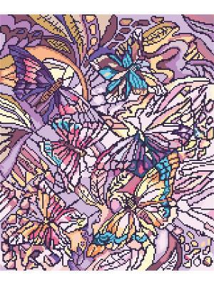 Рисунок на канве Витраж с бабочками Матренин Посад. Цвет: фиолетовый