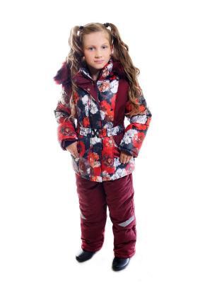 Комплект утепленный для девочки куртка+полукомбинезон Соня Disvey. Цвет: бордовый