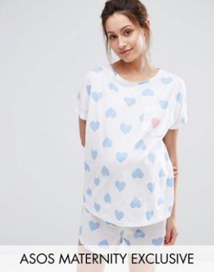 ASOS Maternity Пижамный комплект для беременных с футболкой и шортами. Цвет: белый