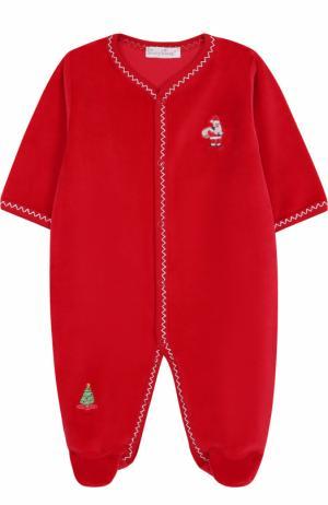 Хлопковая пижама с новогодними вышивками Kissy. Цвет: красный