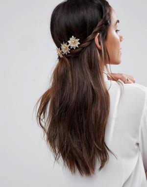 ASOS Украшение для волос ограниченной серии с цветами. Цвет: золотой