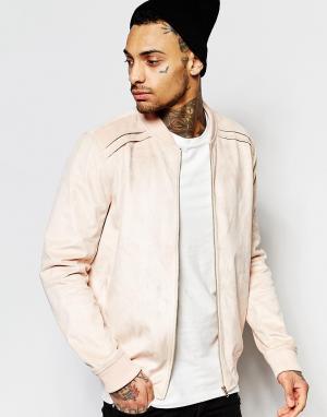 Liquor & Poker Розовая куртка-пилот из искусственной замши. Цвет: розовый