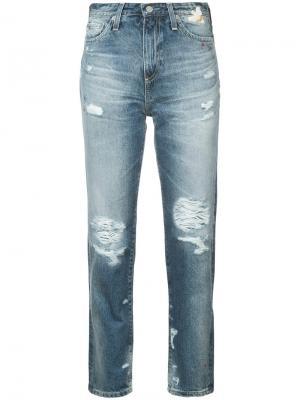 Distressed high-rise jeans Ag. Цвет: синий