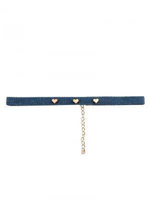 Чокер Джинс три сердечка Honey Jewelry. Цвет: синий, золотистый