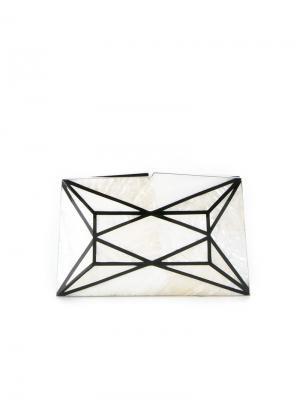 Перламутровый клатч с панельным дизайном Serpui. Цвет: белый